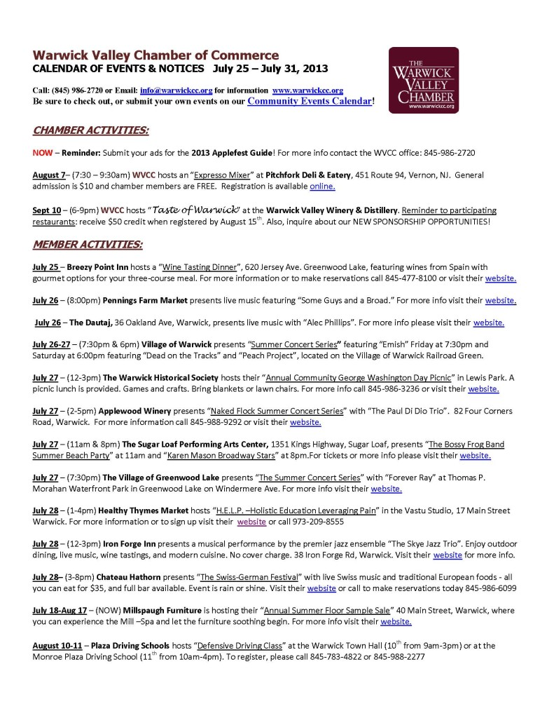 Calendar of Events & Notices 07-25-2013